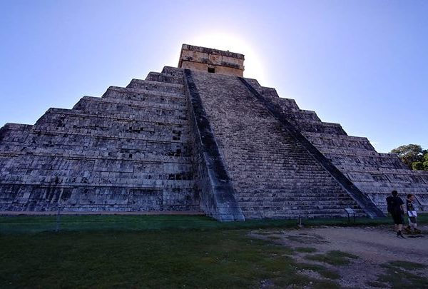 At the Chichen Itza ruins on a beautiful day
