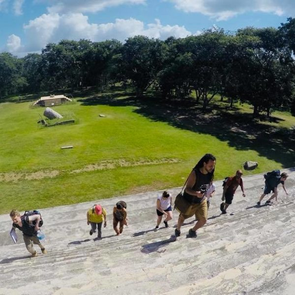 Climbing the ancient steps to the Governor's Palace @ Uxmal