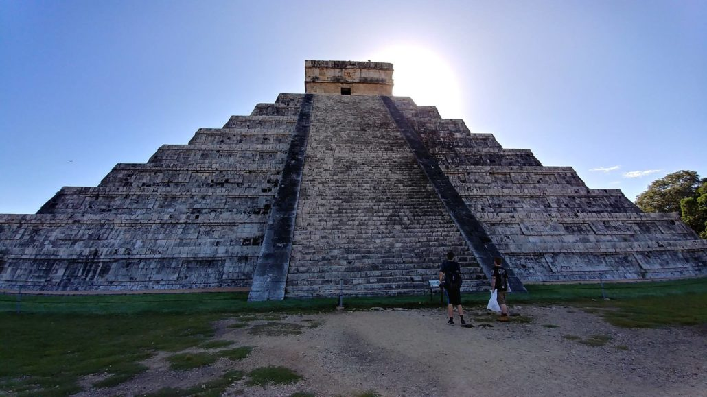Kaeden and Digby approach the Pyramid of Kukulkan at Sunrise, Chichen Itza
