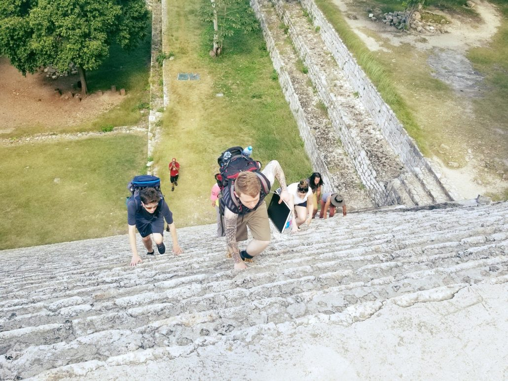 Climbing the Grand Pyramid @ Uxmal, The Mysteries of the Maya Study Trip 2017 | Photo by Carl Webley