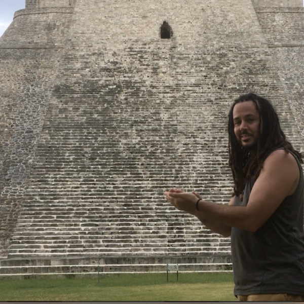 "Anyextee demonstrates the ""Kukulkan clap"" producing the acoustic effect in front of The Pyramid of the Magician, @ Uxmal"