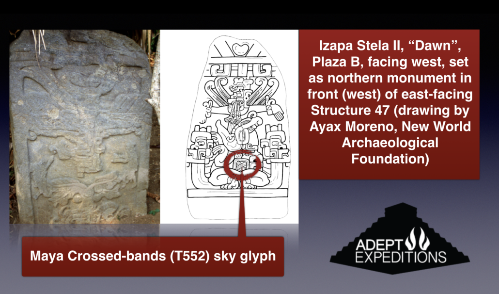 Izapa Stele II Crossed band T552 sky glyph
