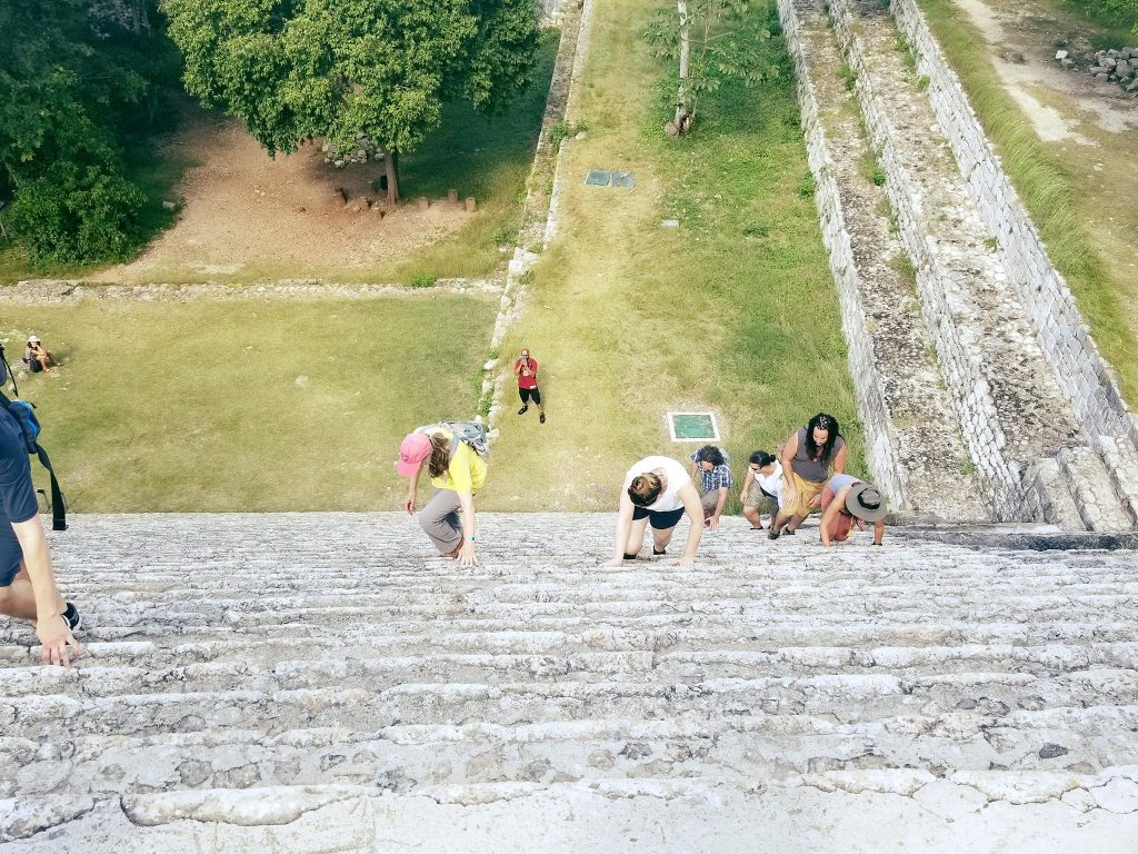 Climbing the Great Pyramid in Uxmal 2017