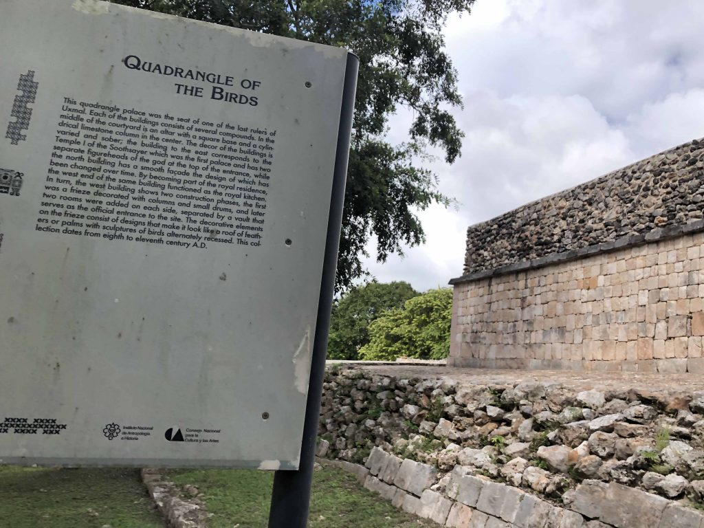 Official INAH plaque quadrangle of the birds uxmal adept expeditions