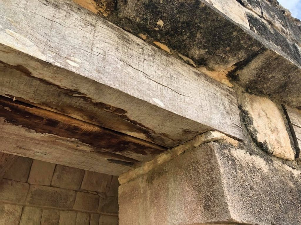 Quadrangle of the Birds Uxmal South Building new wooden lintel
