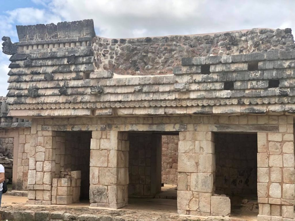 Quadrangle of the Birds Uxmal West building tryptich