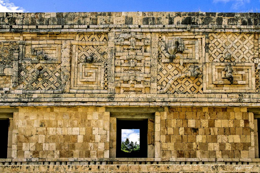 Uxmal - Detail of the West building, Nunnery Quadrangle