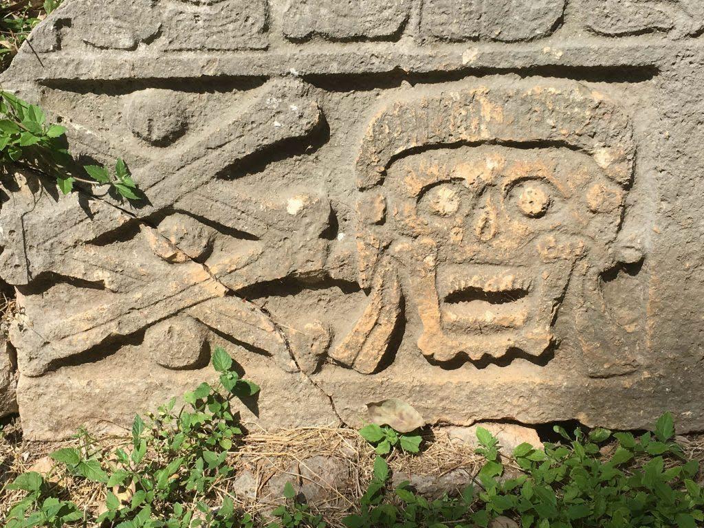 uxmal cemetery group symbolism skull crossbones 2