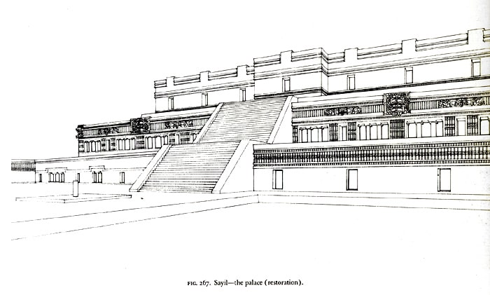 Sayil the palace (restoration). Scanned from George F. Andrews, Maya Cities, Placemaking and Urbanization, 1975, p.365.-min